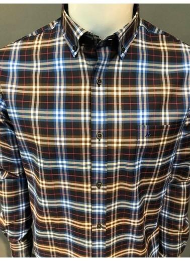 Abbate Kolay Ütülenır Regularfıt Ekose Gömlek Saks